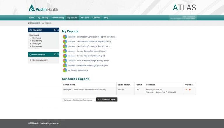Austin Health Atlas reports