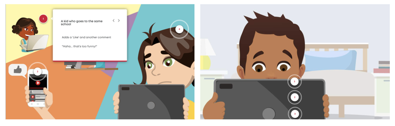 Two pages from the Stay Safe Tell Someone program. One shows two young people looking at their devices. The other shows a young boy looking at a tablet.